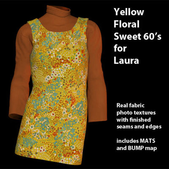 Picture of Yellow Floral Sweet 60's Dress for Laura