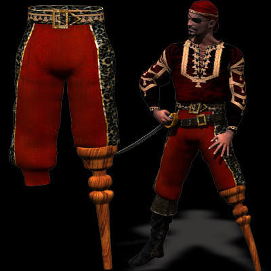 Picture of Mike's pirate Baggy Pants with integrated Pegleg