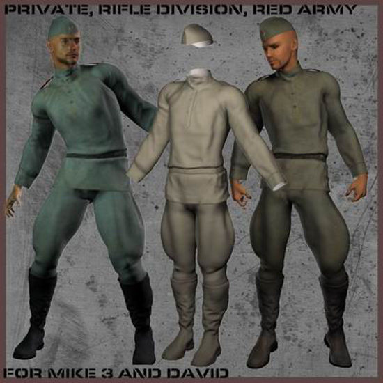 Picture of Red Army Uniform for Akiko 3 - Poser / DAZ 3D ( A3 )