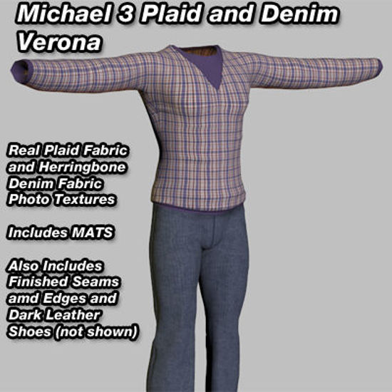 Picture of Purple Plaid and Denim Verona Outfit for Michael 3