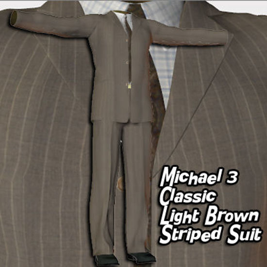 Picture of Light Brown Striped Suit for Michael 3