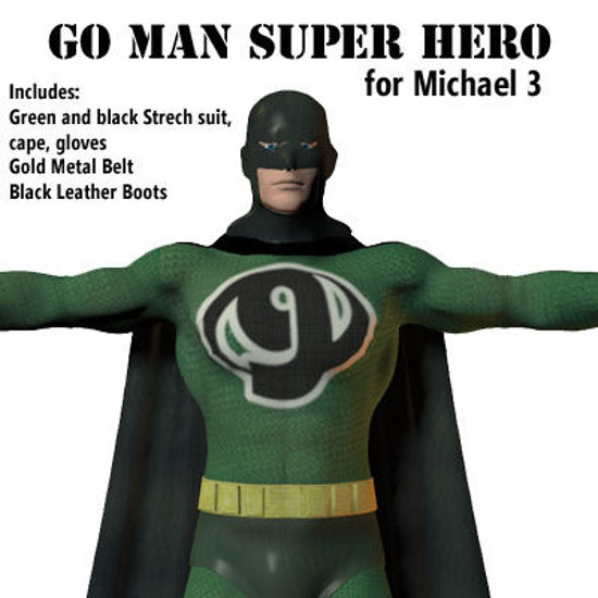 Picture of GO Man Super Hero Outfit for Michael 3 - SuperHeroM3-GoMan
