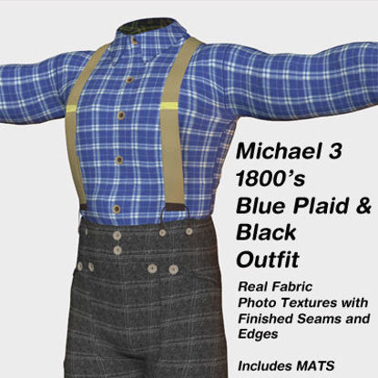 Picture of Michael 3 Blue Plaid 1800's Outfit