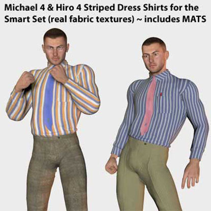 Picture of Michael 4 and Hiro 4 Striped Dress Shirts