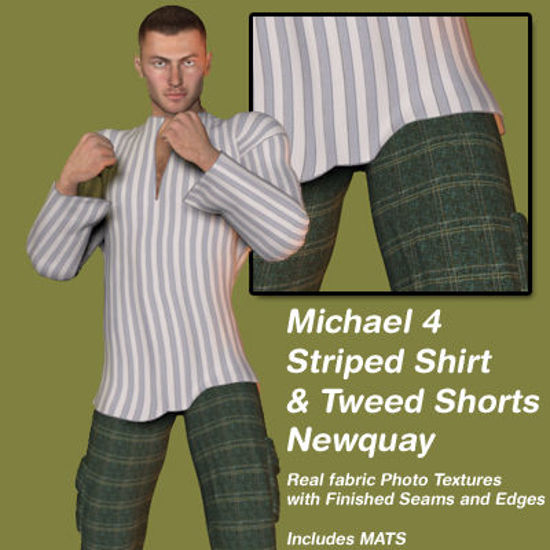 Picture of Gray Stripe Shirt and Plaid Tweed Shorts Newquay Outfit for Michael 4