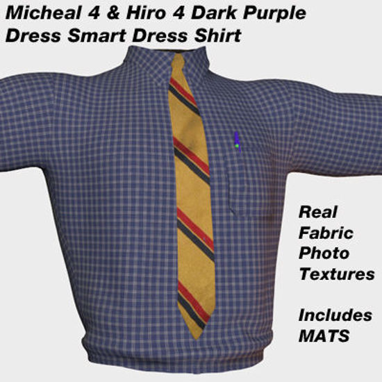 Picture of Dark Purple Checker Dress Shirt with Tie for Michael 4 and Hiro 4