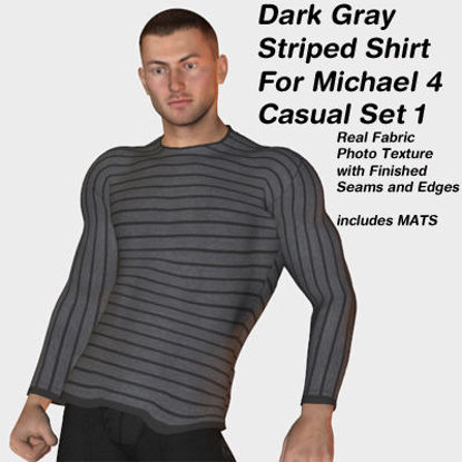 Picture of Dark Gray Striped Shirt for Michael 4 Casual Set 1