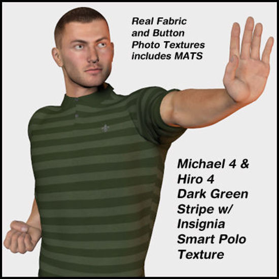 Picture of Dark Green Striped Smart Polo Texture for Michael 4 and Hiro 4