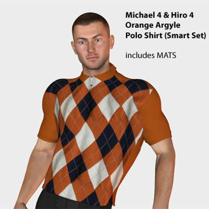 Picture of Orange Argyle Polo Shirt for Michael 4 and Hiro 4