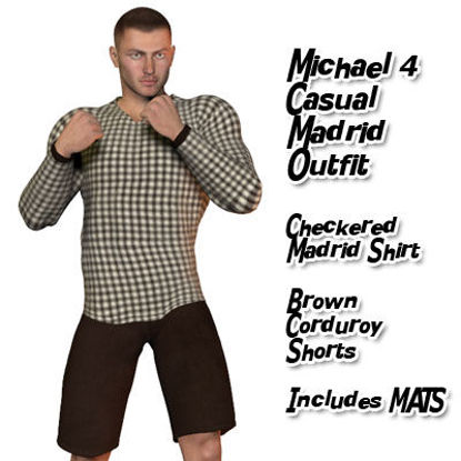 Picture of Checkered Madrid Shirt and Corduroy Shorts Casual Set