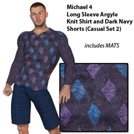 Picture of Long Sleeve Knit Argyle Shirt and Denim Shorts for M4
