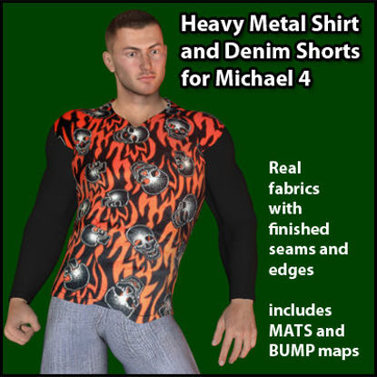 Picture of Heavy Metal Shirt and Denim Shorts for Michael 4