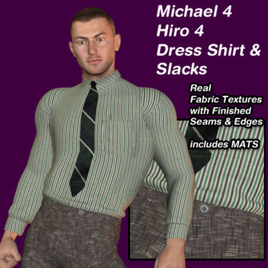 Picture of Smart Striped Dress Shirt and Matching Pants for Michael 4 and Hiro 4