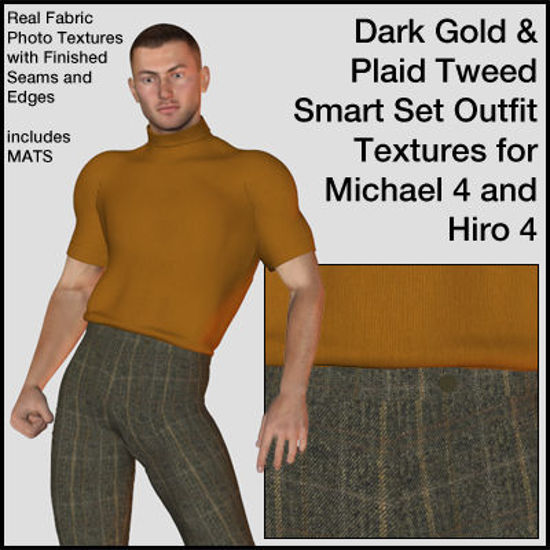 Picture of Dark Gold and Tweed Smart Outfit Textures for Michael 4 and Hiro 4