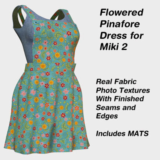 Picture of Green Flowered Pinafore Dress for Miki 2