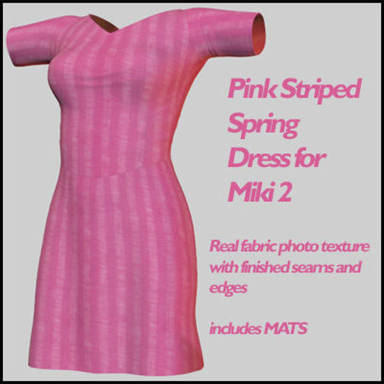Picture of Pink Striped Spring Dress for Miki 2