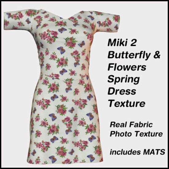 Picture of Miki 2 Butterflies and Flowers Spring Dress Texture
