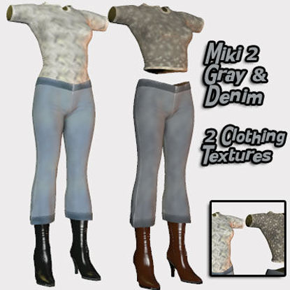 Picture of Gray and Denim Clothing Textures for Miki 2