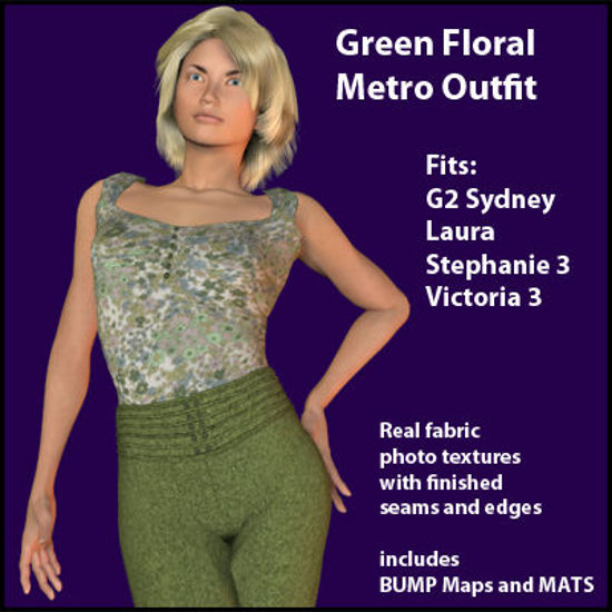 Picture of Green Floral Metro Outfit MultiFigure - Poser G2, Laura, DAZ 3D SP3 and V3