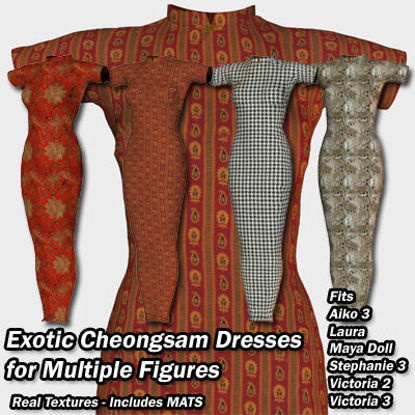 Picture of Cheongsam 2 Exotic Dresses for Aiko3 - Poser / DAZ 3D ( A3 )