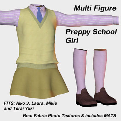 Picture of Preppy School Girl Outfit for Multiple Figures - MF-Preppy-School-Girl