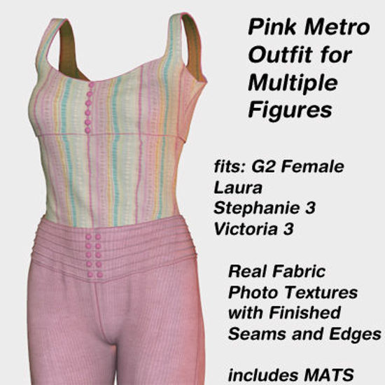 Picture of Pink Metro Outfit textures - Material Pack for Metro for Poser
