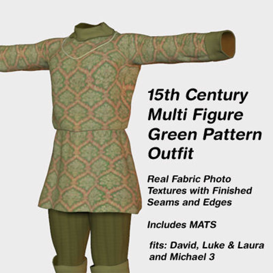 Picture of Multi Figure 15th Century Green Pattern Outfit - 15CenturyDavid