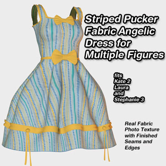 Picture of Striped Puckered Fabric Angelic Dress for Multiple Figures - SP3