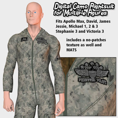 Picture of Digital Camo Flightsuit Textures for Flightsuit 2005 for Poser