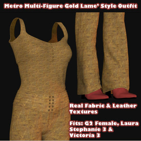 Picture of Metro Lame' Style Outfit for Multiple Figures - Poser G2F, Laura, DAZ 3D V3, and SP3