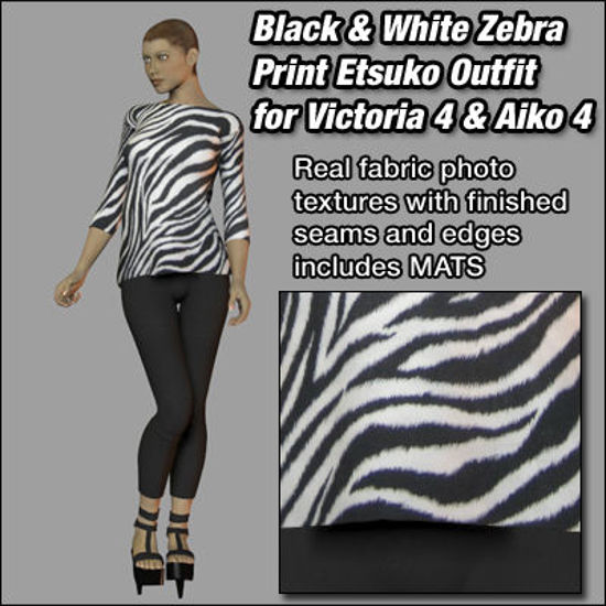 Picture of Black and White Zebra Etsuko Outfit for Victoria 4 and Aiko 4