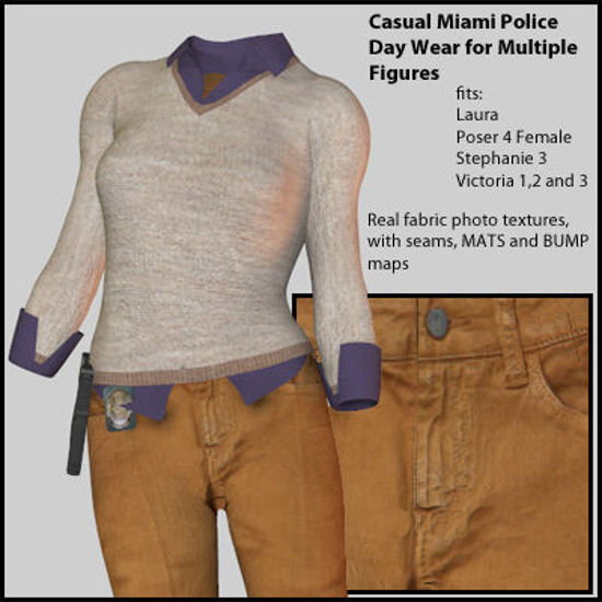 Picture of Casual Miami Day Wear Outfit for Multiple Figures - Material Pack Add-On for Miami Day Wear for Poser