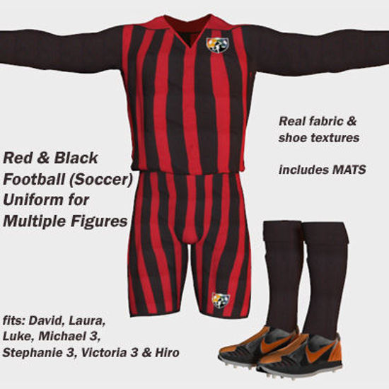Picture of Red and Black Football (Soccer) Uniform for Victoria 3 - Poser DAZ 3D V3