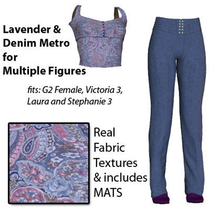 Picture of Lavender Paisley and Denim for Texture Set for Metro for Poser