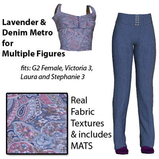 Picture of Lavender Paisley and Denim for Multiple Figures - G2F