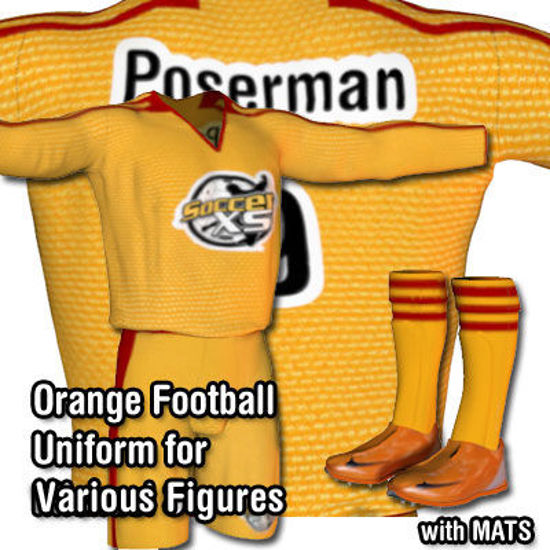 Picture of Orange Football / Soccer Uniform for Luke and Laura - Poser / DAZ 3D L&L