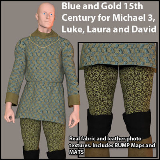 Picture of Blue and Gold 15th Century Outfit for Michael 3, Luke, Laura and David - MF-BlueGold15thCentury