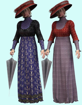 Picture of 1909 Dress, Props and pose for Poser - Required Textures