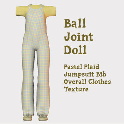 Picture of Pastel Plaid Bib Overall Texture for Ball Joint Doll