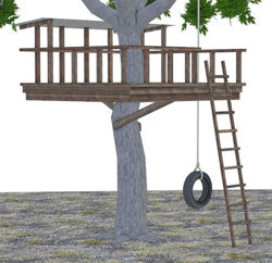 Tire Swing Add-on Model for Kids Tree Fort Model