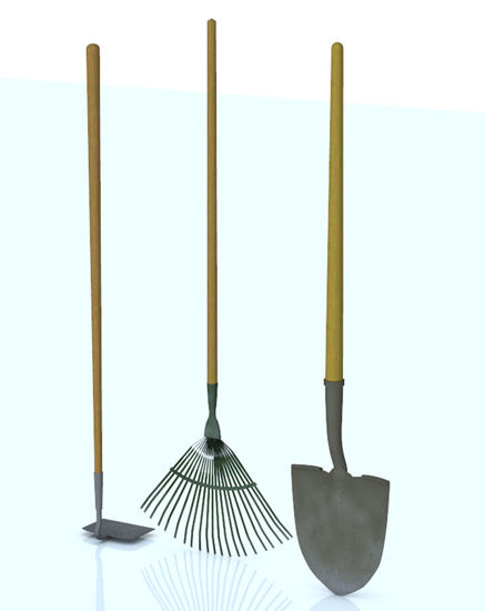 Picture of Garden Tools Set 2 - Rake, Hoe and Shovel Models - Poser and DAZ Studio Format