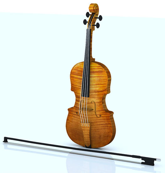 Picture of Violin and Bow Models - Poser and DAZ Studio Format