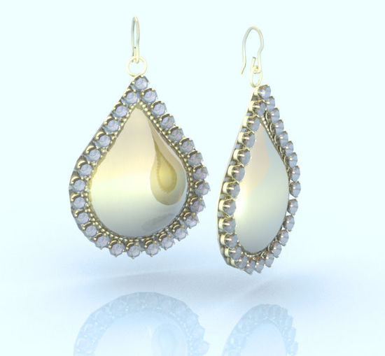 Picture of Gold and Diamond Teardrop Earring Jewelry Props