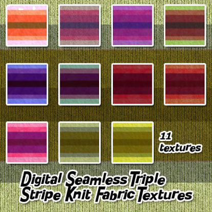 Picture of Digital Seamless Triple Stripe Knit Fabric Textures