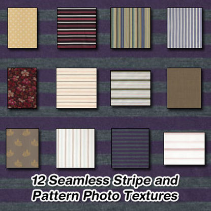 Picture of 12 Seamless Stripe and Pattern Fabric Photo Textures Set 1