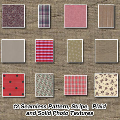 Picture of 12 Seamless Pattern, Stripe, Plaid and Solid Fabric Photo Textures