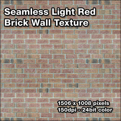 Picture of Seamless Light Red Brick Wall Photo Texture