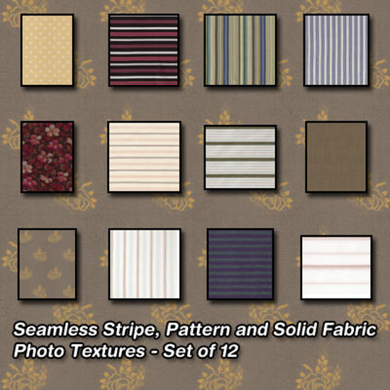 Picture of Seamless Striped, Solid and Pattern Fabric Photo Textures - Set of 12