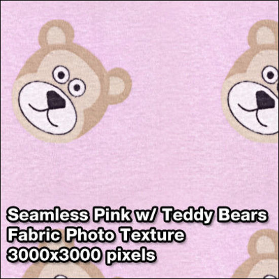 Picture of Seamless Women's Fabric Photo Textures Set - Pink-with-Bears-Pattern-Fabric