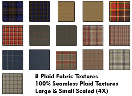 Picture of Eight Seamless Plaid Fabric Textures
